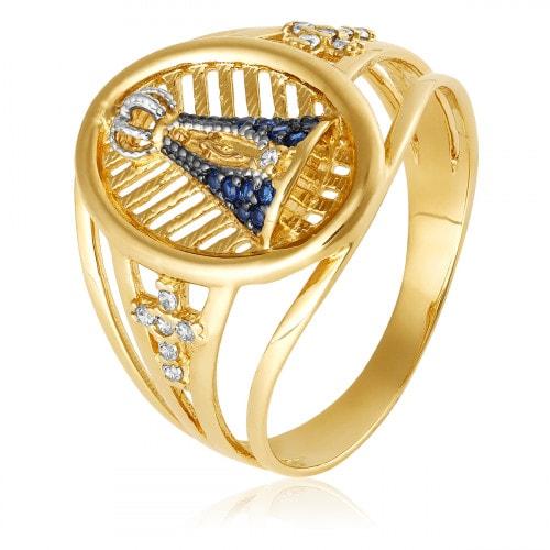 Anel em ouro Nossa Senhora Aparecida em Zirconia