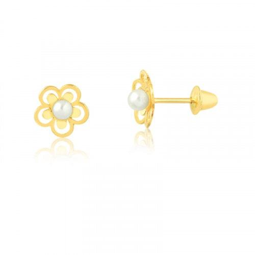 Brinco Infantil em ouro flor com perola