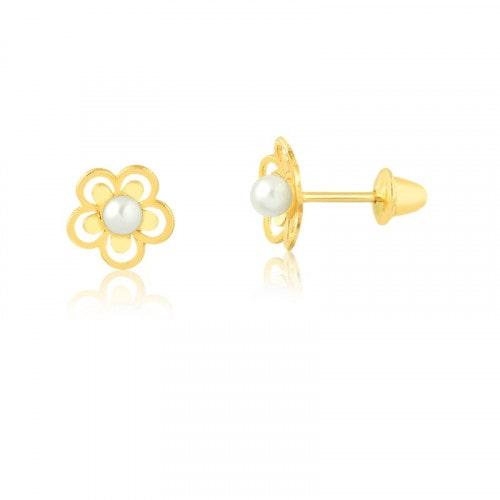 Brinco Infantil em ouro flor com perola p