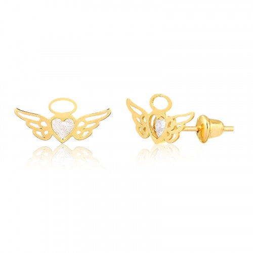 Brinco Infantil em ouro asas com zirconia