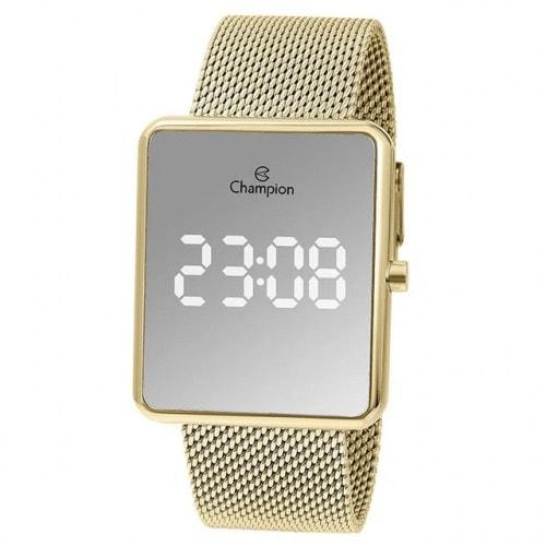 Relógio Champion Led Espelhado Dourado CH40080B