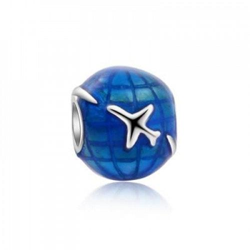 Pingente em Prata Globo Azul