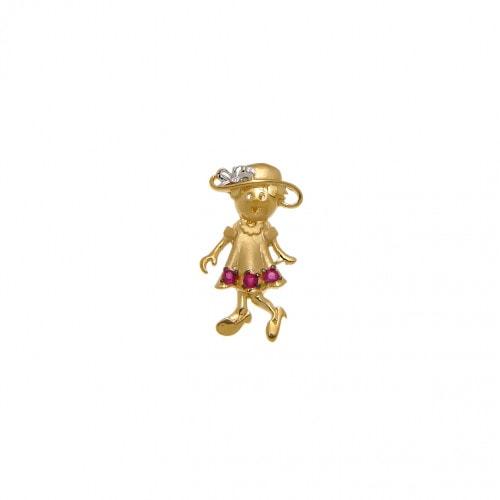 Pingente em ouro Menina com rubi